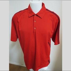 XL Red Striped NIKE FIT-DRY Mens #40G Golf Polo
